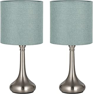 HAITRAL Bedside Table Lamps - Modern Nightstand Lamps Set of 2 with Fabric Shade, Simple Small Desk Lamps for Bedroom, Office College Dorm, Ideal Gift - Light Blue