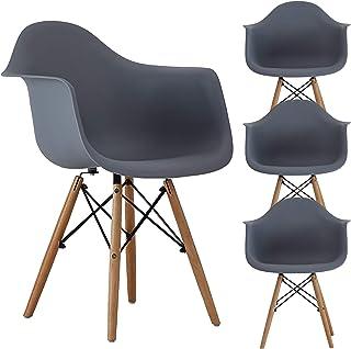 MUEBLES HOME Juego de 4 sillas de comedor Silla de cocina moderna Mid Century Sillón de plástico moldeado Silla de ocio con patas de madera para comedor Dormitorio Sala de estar Sillas laterales