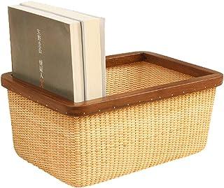 Paniers à linge Paniers en rotin naturel de stockage, rectangulaire tissé Boîte de rangement Organisateur Décoration et or...