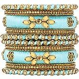 Aheli Royal Design Silk Thread Bangle Set Faux Stone Studded Saree Matching Chudha Indian Traditional Wedding Wear Fashion Jewelry for Women (Blue)