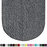 Gorilla Grip Original Luxury Chenille Oval Bath Rug Mat, 42x24, Extra Soft and Absorbent Large Shaggy Bathroom Rugs, Machine Wash Dry, Plush Carpet Mats for Tub, Shower, and Bath Room, Gray