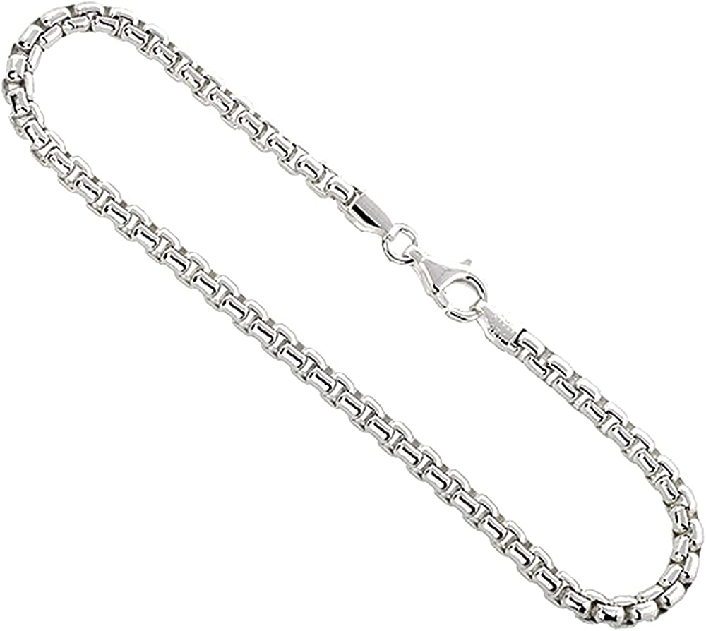 LONG BOX Chain Necklace ITALY Sterling Silver ROUND BOX Chain Necklace//Bracelet