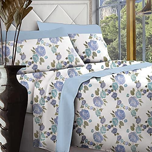 Set completo letto stampato Ginevra Flowers 100% cotone – singolo, matrimoniale, una piazza e mezza (Azzurro, Matrimoniale)