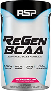 RSP ReGen BCAA – Post Workout BCAA Powder, High Performance Supplement for Muscle Recovery & Endurance, Amino Acids, Watermelon, 50 servings
