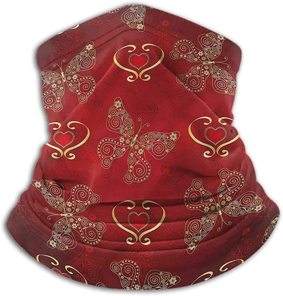 Face Scarf Mask Women Maroon Fishing Neck Gaiter Sun Protection Ornate Butterflies Hearts 10 x 12 Inch