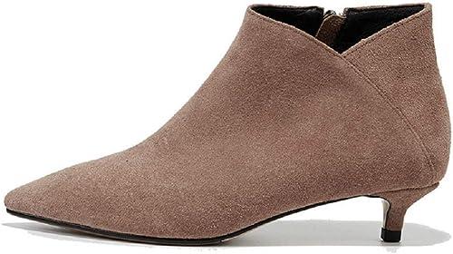 Gaslinyuan Chaton Bottes à Talons Hauts en Cuir Femmes Chaussures Chaussures à Bout Pointu (Couleuré   Marron, Taille   EU 37)  édition limitée