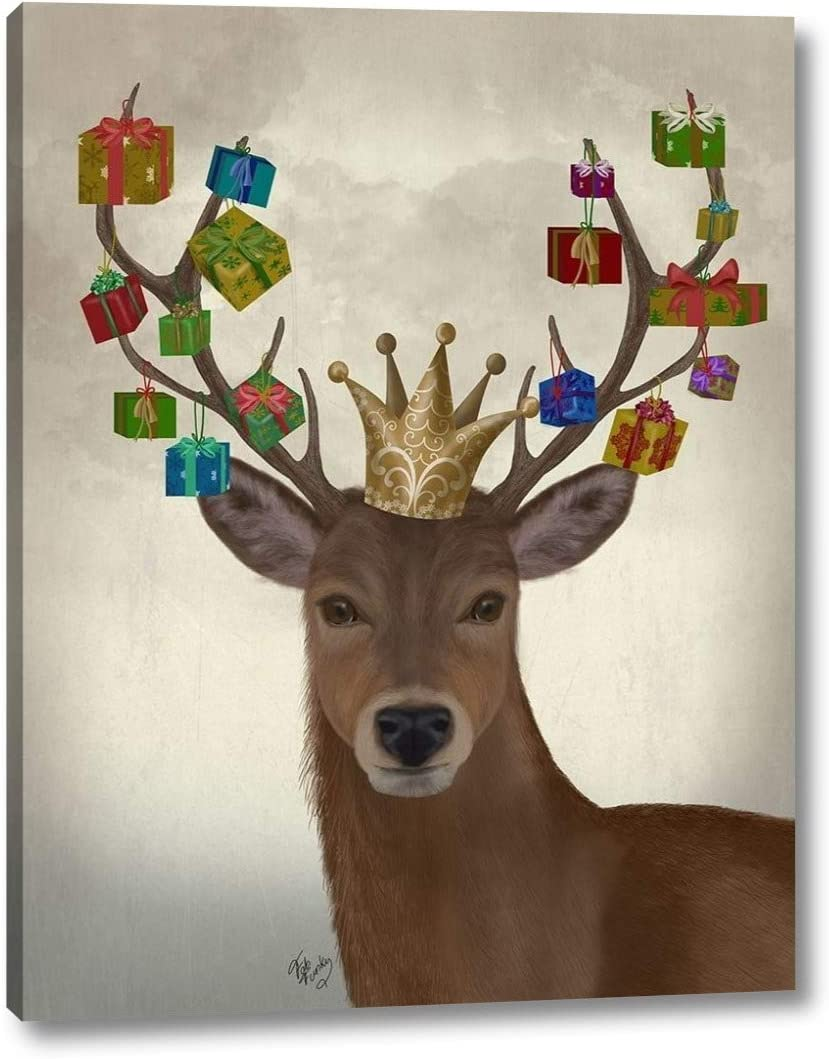 Amazon Com Bearing Deer By Fab Funky 30 X 38 Canvas Art Print Gallery Wrapped Ready To Hang Posters Prints