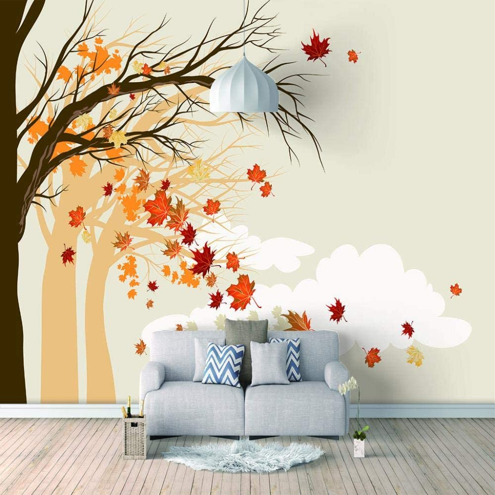 ZXDHNS Photo Wallpaper Wall Mural - X Maple Year-end gift Finally resale start Red Autumn W Leaves