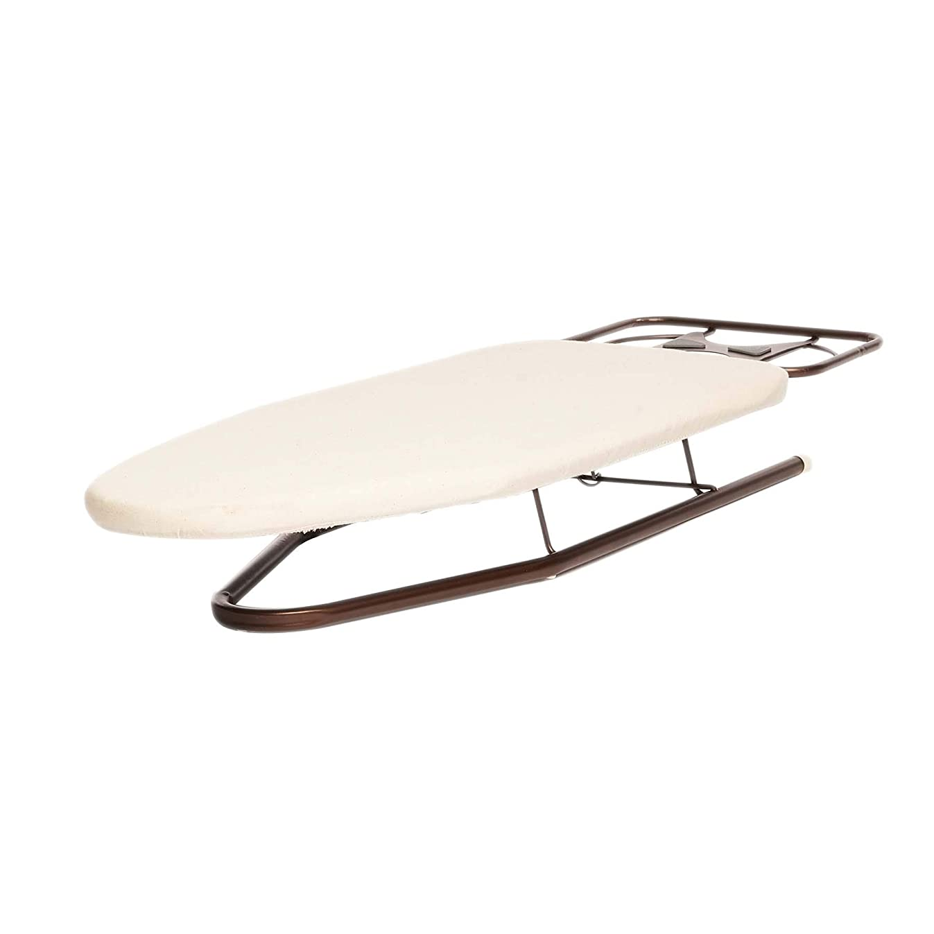 Homz Deluxe Tabletop Compact Rest, Natural Cotton Cover and Oil Rubbed Bronze Metal Legs Countertop Ironing Board, White