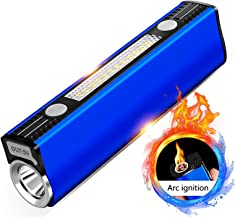 LED Flashlight, USB Rechargeable Flashlight, Aluminum Alloy Multi-Function Outdoor Mini Portable Cigarette Lighter Small C...