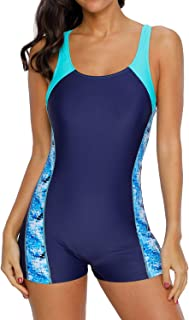 belamo Women's Racerback One Piece Swimsuit Athletic Pro Boyleg Swimwear