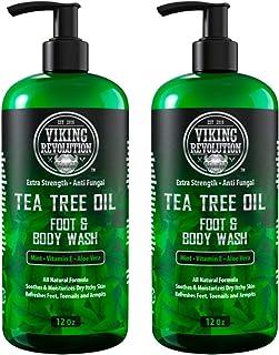 Antifungal Tea Tree Oil Body Wash Soap for Men - Helps Athlete's Foot, Toenail Fungus, Jock Itch, Eczema, Ringworm & Body Odors - Extra Strength Men's Body Wash (2 Pack)