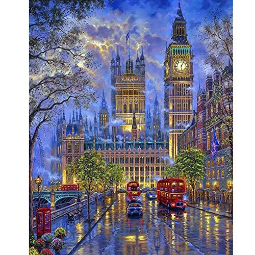 SLCE Pintar por Números para Adultos, Noche Lluviosa En Londres, Niños Pintura por Número Kits Decoraciones para El Hogar, Accesorios Incluyendo Pinceles Y Pigments (16 * 20 Pulgadas),Frameless