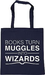 WENNUNA Books turn Muggles into Wizards Tote Shopping Gym Beach Bag 42cm x38cm, 10 litres