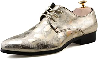 YINJIESHANGMAO Women's, men's business casual oxford new flower relief official British shoe, breathable and comfortable shoes Men's shoes (Color : Gold, Size : 41 EU)
