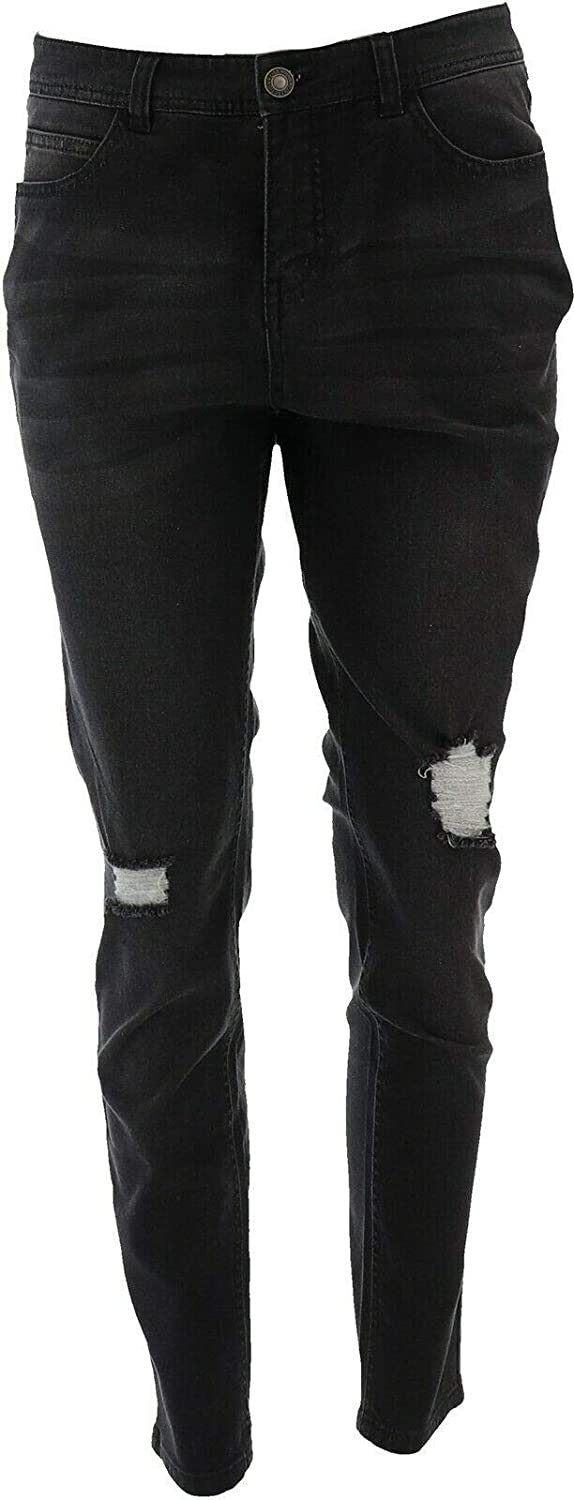 Lisa Rinna Collection Distressed Jeans A370177 Black