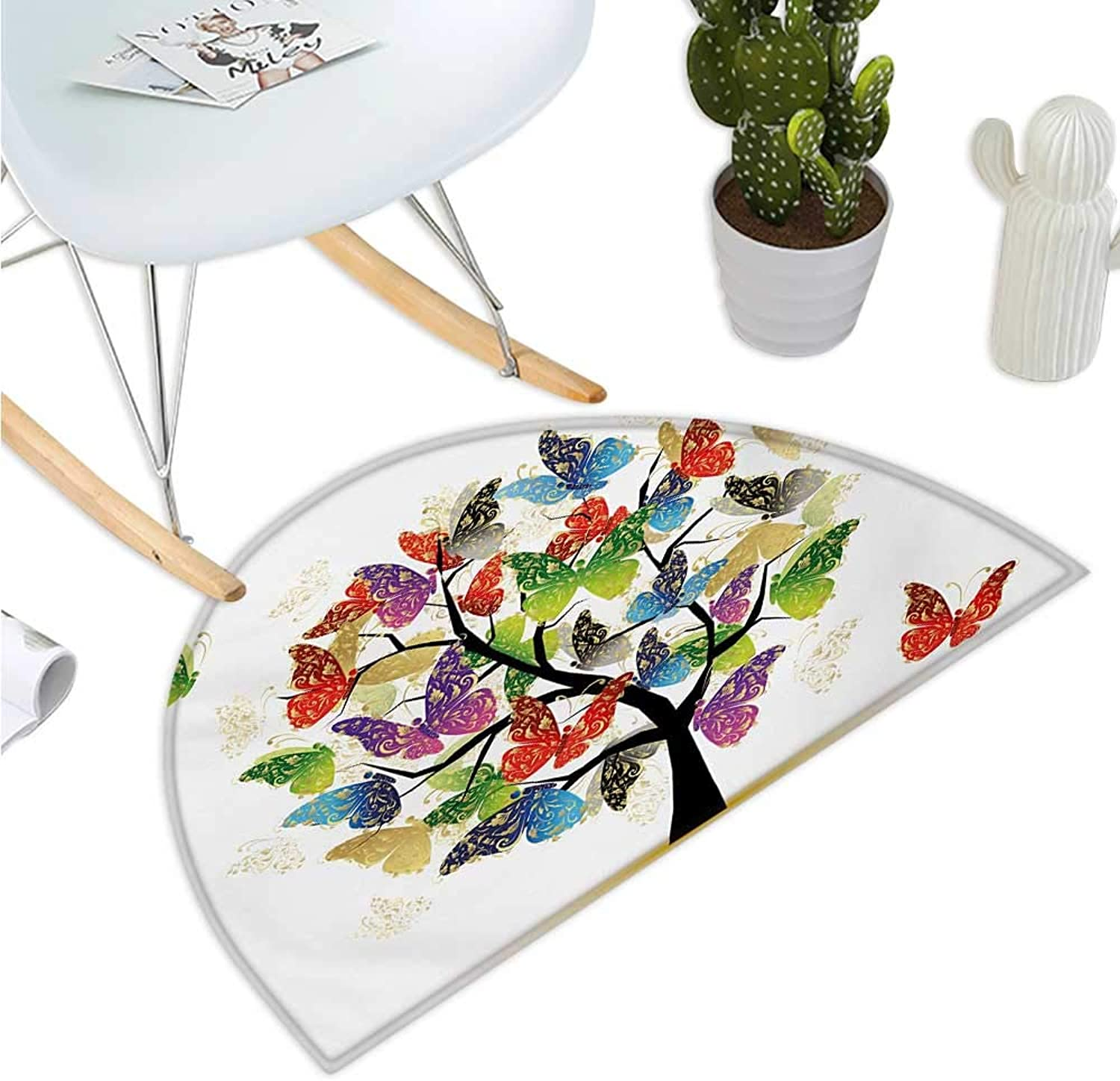 Modern Semicircle Doormat Artistic Nature Tree with Floral Butterflies Leaves Vivid Vibrant Artwork Print Halfmoon doormats H 47.2  xD 70.8  Multicolor