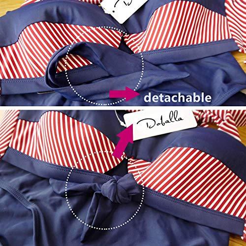 Doballa Damen 50er Retro Bademode Bikini Set Neckholder Push up hohe Taille Bauchweg Gestreift (S(EU36), Rot und Marine) - 6