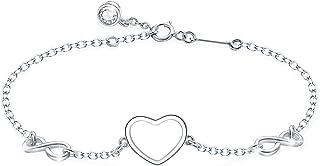 Tusuzik Pulsera de plata de ley 925 para mujeres niñas, pulseras de con corazón símbolo de infinito