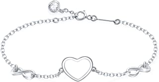 Tusuzik Bracelet réglable en argent sterling 925 avec symbole de l'infini et cœur pour femme et fille