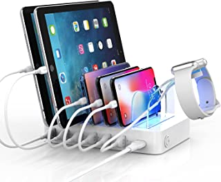 Soopii Quick Charge 3.0 60W/12A 6-Port USB Charging Station Organizer for Multiple Devices, 8 Short Charging Cables Includ...