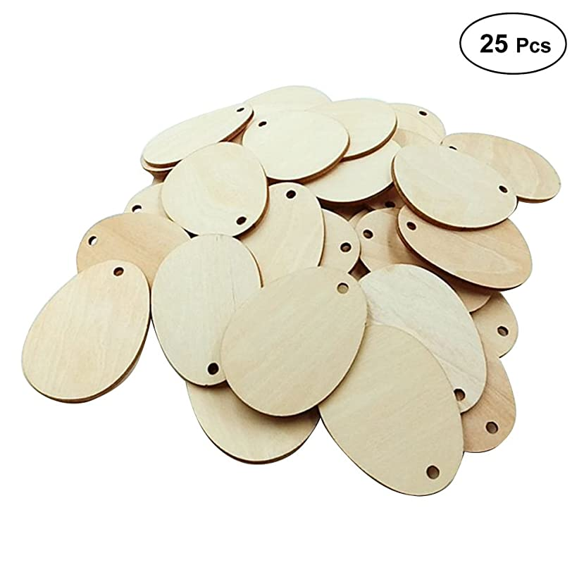 Healifty Wooden Eggs Wood Slices Discs with Holes for Craft DIY 80MM 25PCS