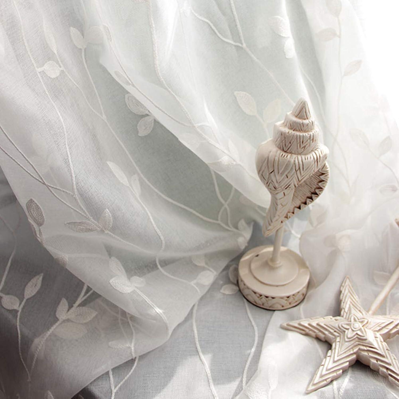precios razonables Alto grado grado grado blancoo Vid Bordado Pantallas de flores Voile Tul Cortina transparente para Habitación Sala Tratamiento de la ventana Panel único  Entrega rápida y envío gratis en todos los pedidos.