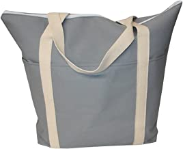 product image for Tote Bag Jumbo Size 18 Oz Light Gray Canvas,Boat Canvas Tote Bag, Made in USA.