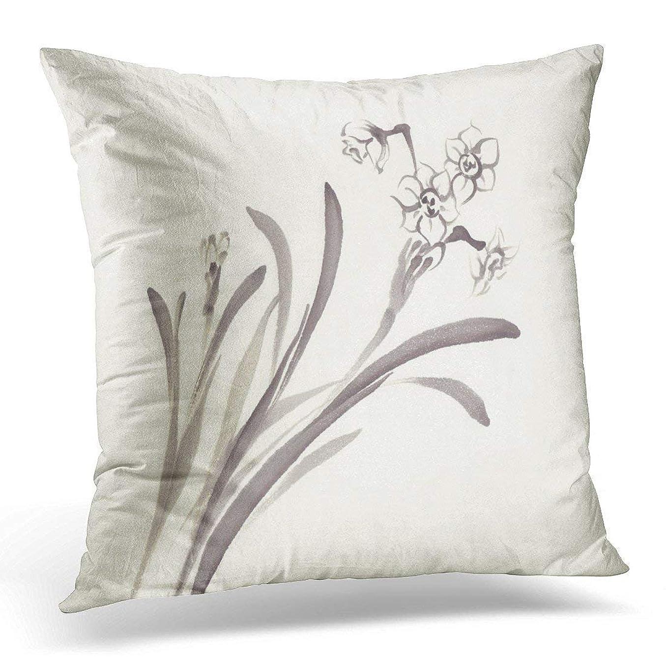 印象シードペスト満開の手水仙インクの花白花コレクション中国の装飾枕ケース家の装飾スクエア45x45 cm枕カバー