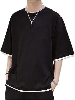 [ワン アンブ] ビッグシルエット Tシャツ クルーネック 丸首 カジュアル フェイクレイヤード ゆったり 男女兼用 M ~ XL メンズ