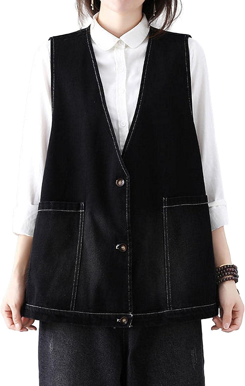 HALITOSS Women's Vintage Loose Style Sleeveless Denim Vest Jacket With Pockets