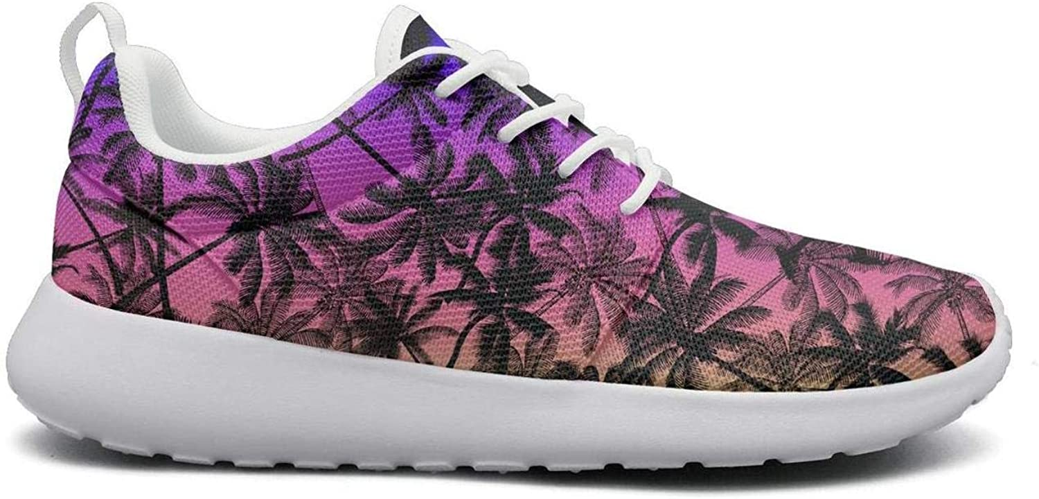 Wirksep Rainbow Tropical Coconut Palm Tree Silhouette Womens Breathable Lightweight Running shoes Sneakers