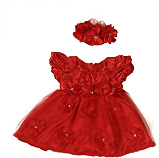 FORESTIME Adorable Toddler Baby Girls Princess Pageant Floral Lace Waist Dresses+Gauze Bow Frock Headband