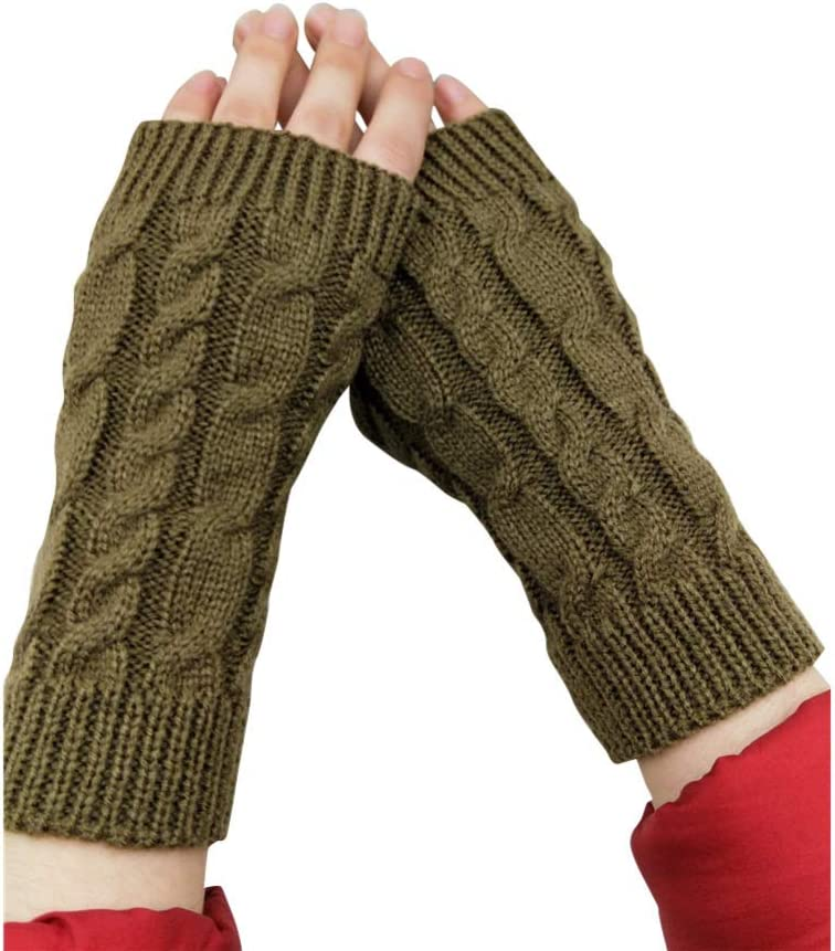 ShiningLove Unisex Half Finger Warm Wrist Knitted Gloves Sleeves for Cold Weather Length Gloves Warmers Khaki One Size