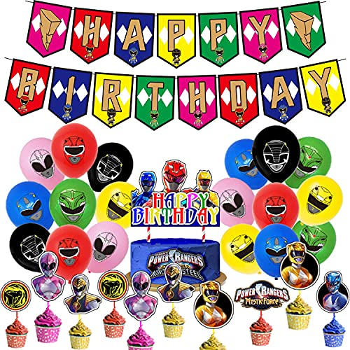 Power Rangers Birthday Party Supplies and Decorations for Boys 4 5 6 7 Years Decor Includes Banner Balloons Cupcake Toppers Cake Topper for Kids