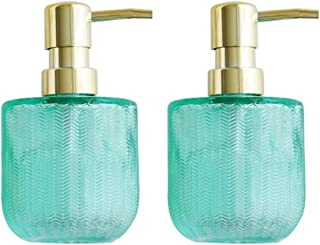 SKK Bomba de la Botella de Cristal dispensadores de jabón líquido Recargable Bomba Recargable antioxidante Manual de Cocina Baño (Color : Green+Green): Amazon.es: Hogar