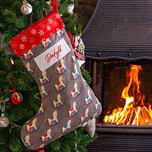 Izabela Peters Personalizzato Calza di Natale Vintage Cavallo A Dondolo Design, Stampato & Fatto a Mano nel Regno Unito
