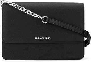MICHAEL Michael Kors Daniela Large Black Silver Saffiano Leather Crossbody Bag