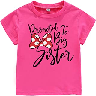 Little Baby Girls Kids Toddlers Outfits Big Sister Print T-Shirt Pullover Tee Tops Clothes Costume Gift