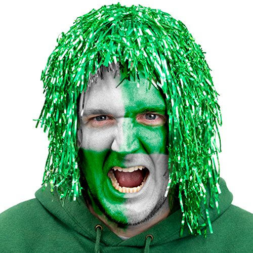 6-Pack Glam Tinsel Party Wigs Halloween Costume Accessory - Dress Up Theme Party Roleplay & Cosplay Headwear (Green)