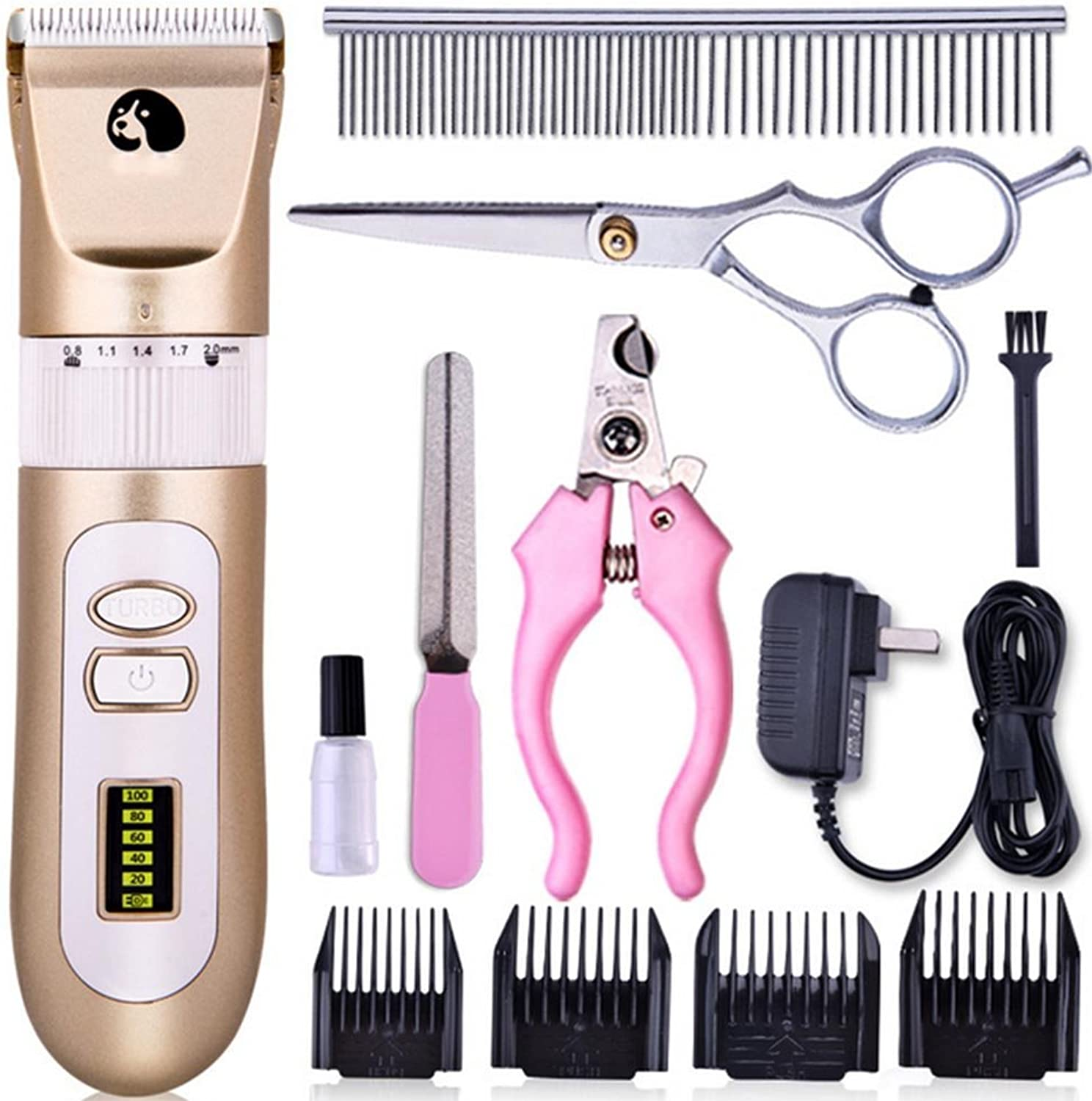 Pet Rechargeable Cordless Grooming Clippers LCD Power Display Low Noise With 4 Comb Guides Grooming Trimming Kit Set For Animals