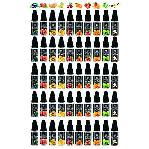 Maxiliving 50er x 10ml E Liquid 0,0mg Nikotin 10 Aromen eLIQUID für E-Zigarette