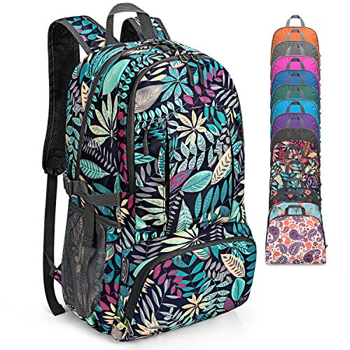 G4Free 40L Lightweight Packable Waterproof Hiking Backpack with Wet Pocket, Handy Foldable Camping Outdoor Backpack (Maple Leaf Blue)