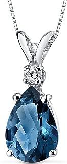14 Karat White Gold Pear Shape 2.00 Carats London Blue Topaz Diamond Pendant