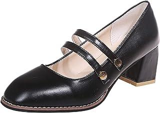 Loisirs Femmes Boucle Sangle Confortable Round Toe Square Talons Hauts Chaussures pour le shopping, le travail, les voyage...