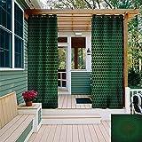 XXANS - Cortina Opaca para Exteriores, diseño Abstracto geométrico en Fondo Oscuro con cuadrícula futurista a Cuadros, Panel de Puerta de Patio Impermeable, Color Verde y Negro