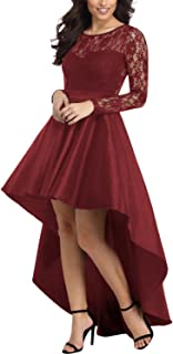 AlvaQ Women's Elegant Lace Short Sleeve A-line High Low Skater Dress Cocktail