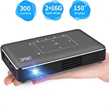 $279 » Portable Mini Projector, Haidiscool Pico Pocket Video Smart Phone DLP Android Projector 300 ANSI Lumen with USB/HD-IN/2GB RAM, Support 1080P Movie, for Outdoor/Home Cinema Entertainment