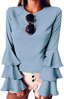 Women's Crewneck Ruffle Sleeve Blouse Solid Chiffon Loose Tunic Tops Shirt
