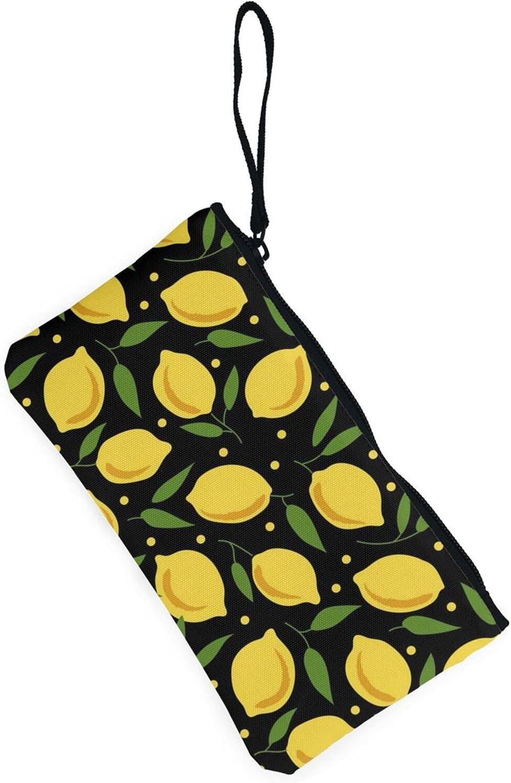 AORRUAM Cartoon lemon Canvas Coin Purse,Canvas Zipper Pencil Cases,Canvas Change Purse Pouch Mini Wallet Coin Bag